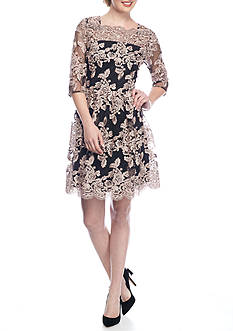 Luxology™ Embroidered Lace Fit and Flare Dress