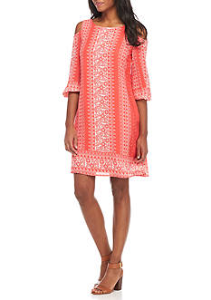 Luxology™ Printed Cold Shoulder Shift Dress