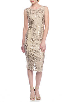 Luxology™ Mesh and Sequin Midi Sheath Dress