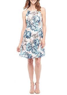 Luxology™ Crochet Lace Floral Printed Trapeze Halter Dress