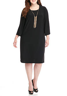 Luxology™ Plus Size Jersey Shift Dress with Necklace