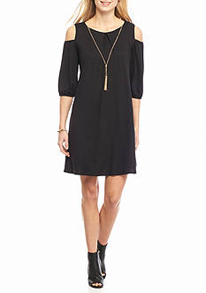 Luxology™ Cold Shoulder Trapeze Dress with Necklace