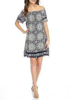 Luxology™ Short Sleeve Peasant Dress with Embroidered Trim
