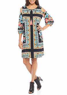 Luxology™ Printed Cold Shoulder Dress with Necklace