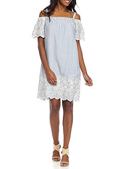 Lux II Striped Embroidered Off The Shoulder Dress