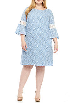 Luxology™ Plus Size Bell Sleeve Printed Shift Dress