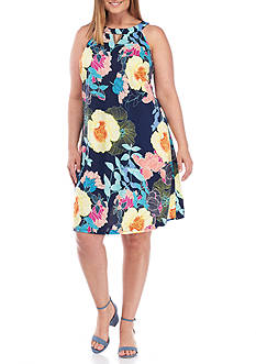 Luxology™ Plus Size Floral Printed Halter Dress
