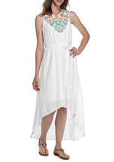 Luxology™ Embroidered Yoke Hi-Lo Hem Maxi Dress