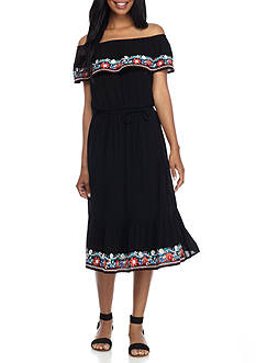 Luxology™ Off-the-Shoulder Embroidered Dress