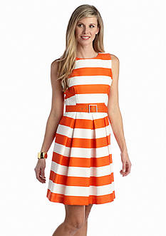 Chetta B Striped Belted Fit-and-Flare Dress