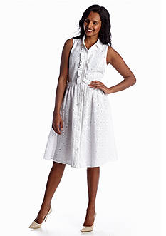 Madison Leigh Eyelet Belted Shirtdress