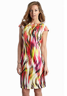 Madison Leigh Printed Scuba Sheath Dress