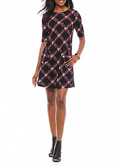 Madison Leigh Textured Knit Trapeze Dress