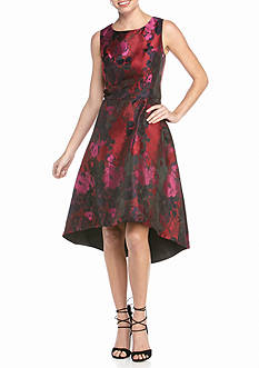 Madison Leigh Floral Jacquard High Low Hem Party Dress