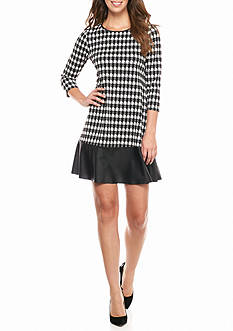 Madison Leigh Houndstooth Printed Shift Dress with Faux Leather hem Border