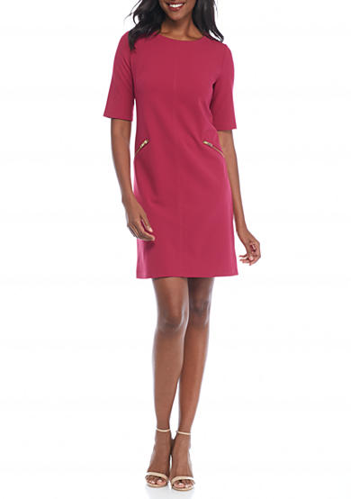 Madison Leigh Elbow-Sleeve Crepe Shift Dress
