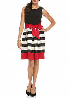 Madison Leigh Striped Scuba Fit and Flare Dress