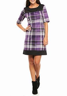 Madison Leigh Plaid Ponte Shift Dress