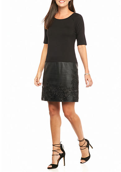 Madison Leigh Drop-waist Dress with Lace Embroidered Faux Leather Skirt