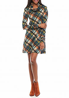 Madison Leigh Plaid Trapeze Dress with Infinity Scarf