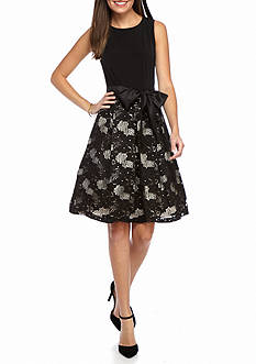 Madison Leigh Mixed Media Fit and Flare Dress
