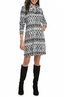 Madison Leigh Printed Trapeze Dress with Infinity Scarf
