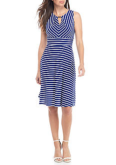 Madison Leigh Stripe Fit and Flare Dress