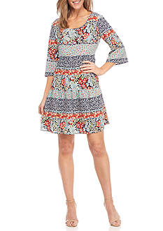 Be by Chetta B Floral Printed Tiered Shift Dress