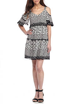 Be by Chetta B Cold Shoulder Printed Trapeze Dress with Pompom Trim