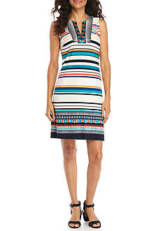 Madison Leigh Embroidered Yoke Stripe Shift Dress