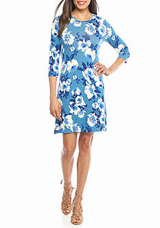 Madison Leigh Floral Printed Trapeze Dress