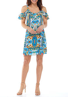 Be by Chetta B Cold Shoulder Floral Printed Shift Dress