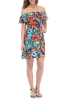 Be by Chetta B Off-the-Shoulder Floral Printed Shift Dress