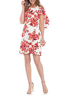 Madison Leigh Floral Printed Capelet Shift Dress