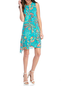 Madison Leigh Printed Chiffon Sleeveless Dress