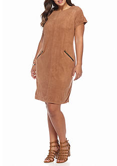 Madison Leigh Plus Size Faux Suede Shift Dress