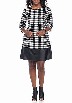 Madison Leigh Plus Size Houndstooth Shift Dress with Faux Leather Hem Border