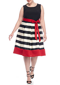 Madison Leigh Plus Size Striped Scuba Fit and Flare Dress