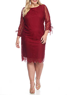Madison Leigh Plus Size Lace Tie-Sleeve Shift Dress