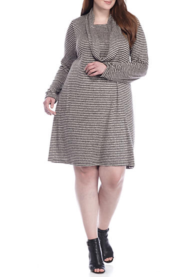 Madison Leigh Plus Size Striped Trapeze Dress with Infinity Scarf