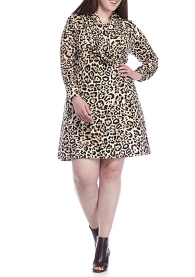 Madison Leigh Plus Size Leopard Printed Trapeze Dress with Infinity Scarf