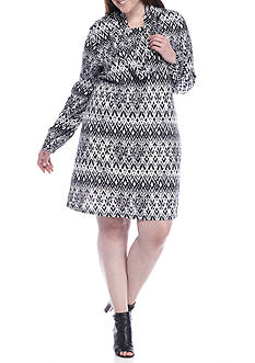 Madison Leigh Plus Size Printed Trapeze Dress with Infinity Scarf