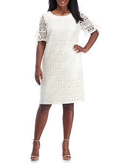 Madison Leigh Plus Size Crochet Lace Shift Dress