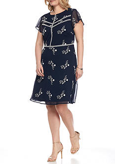 Madison Leigh Plus Size Floral Embroidered Fit and Flare Dress