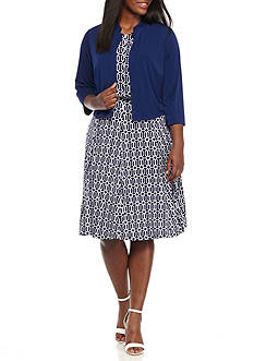 K Studio Collection Plus Size Belted Fit-and-Flare Jacket Dress