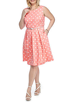 Madison Leigh Plus Size Belted Polka Dot A-Line Dress