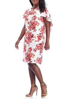 Madison Leigh Plus Size Floral Printed Capelet Shift Dress