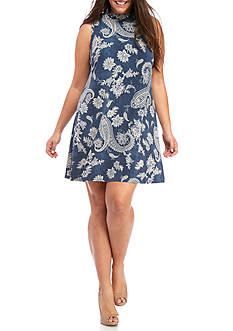 Madison Leigh Plus Size Printed Mock-Neck Trapeze Dress