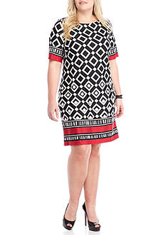 Madison Leigh Plus Size Printed Jersey Shift Dress