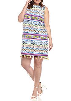 Madison Leigh Plus Size Printed Tassel Hem Shift Dress